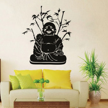 DCTOP Hot Sale PVC Bamboo Background Smile Buddha Wall Decor Sticker Self Adhesive Removable Wall Decal