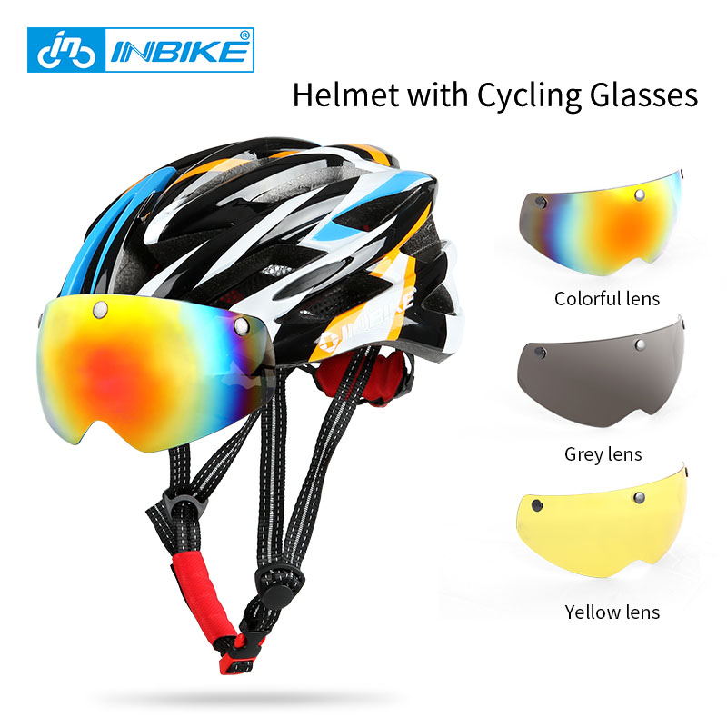 INBIKE Cycling Helmet Bicycle Helmet with Cycling Glasses Ultralight Integrally-molded Road Mountain Bike Helmet Casco Ciclismo<br>