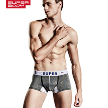 SUPERBODY brand fashion Gay underwear calzoncillos men boxer short trunk sexy low waist cueca boxer panties underpants 170133