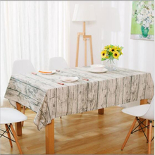 TC615 Pastoral Style Cotton Linen Wooden stripped Tablecloth Table Covers for Home Decoration Table Clothes