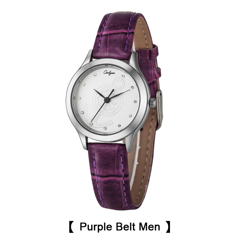 Onlyou Brand Lovers Watches Anchor Rhinestones Saat Wrist Watch For Women Men Quartz Leather Ladies Watch Boys Girls Clock 8850<br>