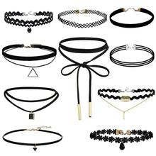 Black Velvet Choker Necklace Tattoo Lace Collar Necklace for Women Jewelry(China)
