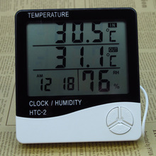 Digital LCD Thermometer Hygrometer Electronic Temperature Humidity Meter Weather Station Indoor Outdoor Alarm Clock HTC-2