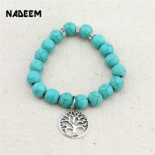 Nature Elastic Green Howlite Stone Beads Bracelet Elephant,Tree,Racoon,Rudder,Tower Charm Bracelets for Women Jewelry ND1064(China)