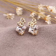 Classic Luxury Crystal Earring Clear Synthetic Gemstone Square Earring Lovely Bowknot Design Ear Accesory For Girls