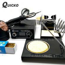QUICKO Hot Sale STC Digital Soldering Iron Station+T12 Handle+Iron Stand+Solder Core Wire+Carton Rosin+Sponge+Cleaner Wire kits