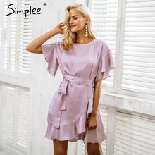 Simplee Ruffle strap satin white dress women vestidos 2017 Autumn short sleeve sexy dresses Party o neck chic short dress female(China)