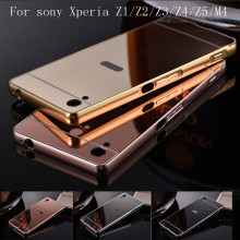 Luxury Aluminum Metal Hybrid case For sony Xperia Z1 Z2 Z3 Compa Z4 Z5 M4 aqua Hard Mirror Protective Back Cover For sony Z1 cas(China)