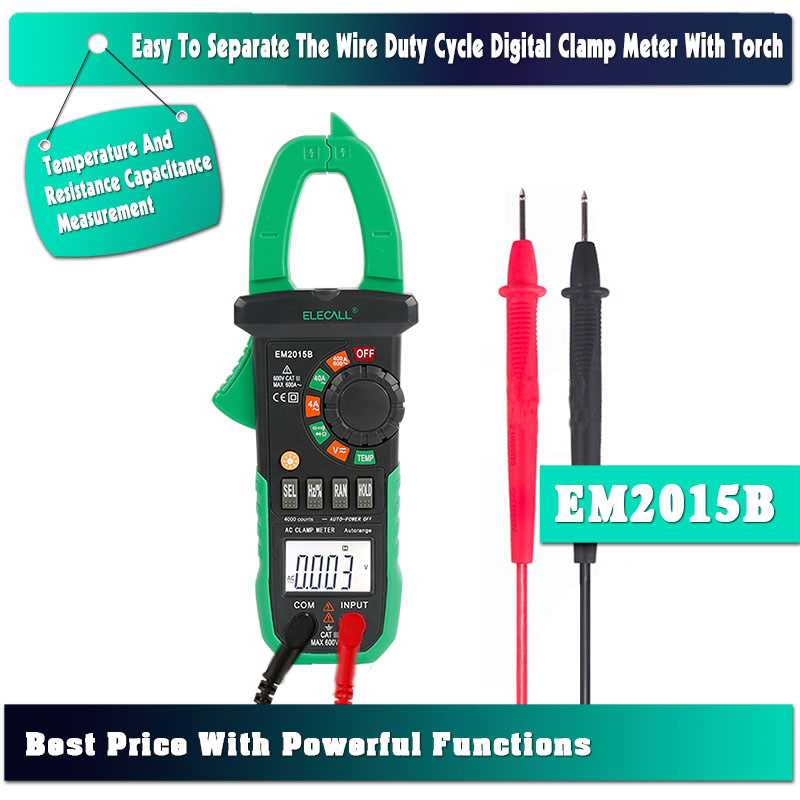 ELECALL EM2015B Best Price Duty Cycle Digital Clamp Meter With Torch Temperature And Resistance Capacitance Measurement<br>