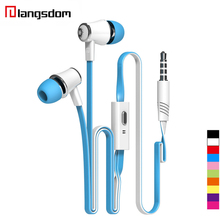 Original Langsdom JM21 Earphone 3.5MM Stereo HIFI Super Bass Earbuds Noodles In-ear Earphone With Microphone For Samsung iPhone