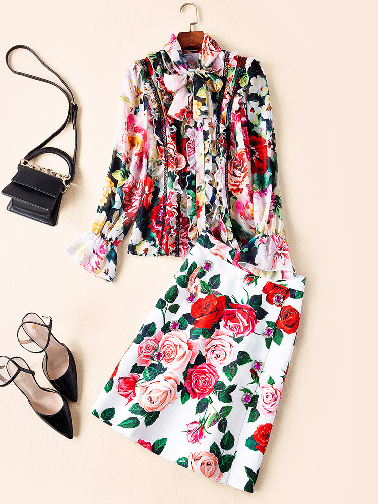 GoodliShowsi 2019 Summer Women's Sets Slim Long Shirt and Mini Skirt Flare Sleeve Floral Print Bow Collar Buttons Chic Elegant