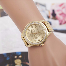 Women Crystal Rhinestone Watches Butterfly Pattern Ladies Watch Classic Quartz WristWatches Ladies Gold Silver Relojes Mujer