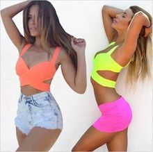 2016 Hot Sale Sale Corset Aliexpress Ebay Explosion Models Europe Fluorescent Color Cross Bustiers Sexy Bikini Wrapped Chest