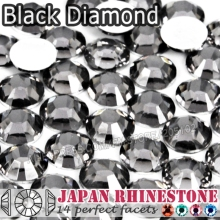 Black Diamond Nail Crystal Rhinestone SS6 SS8 SS12 SS16 SS20 SS30 Resin Non Hotfix Flat Back stones glitters for Glue DIY Art