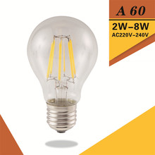 LED Bulb E27 Filament Light Glass Bulb A60 220V 240V 2W 4W 6W 8W Lamp Antique Retro Vintage Led Edison Lamp