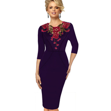 New Arrival Womens Autumn Winter Wear Elegant Vintage Appliques Dresses for Women Sheath Fitted Dress Large Size S-XXXL