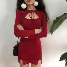 New Ladies Fashion Long Sleeve Hallow Out String Up Collar Slim Fit Red/Gree/Black Christmas Sheath Dress(China)