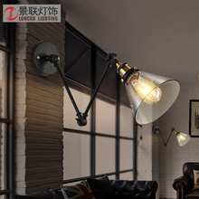 The bedroom bedside lamp iron folding wall Vintage industrial mechanical arm wall wind personality(China)