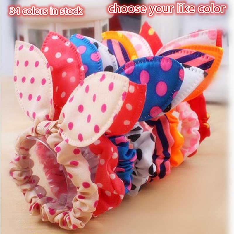 Cute Flower Hair Rope Elastic Rubber Bands Headbands Rabbit Ear Dot Headwear Elastic Hair Band Hair Ties Rope Scrunchy