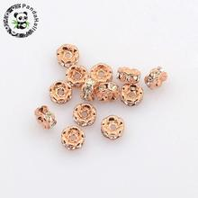 Brass Rhinestone Spacer Beads, Grade AAA, Wavy Edge, Nickel Free, Rose Gold Metal Color, Rondelle, Crystal, 4x2mm, Hole: 1mm