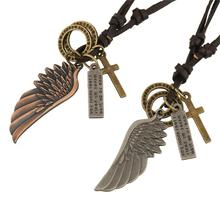 Jiayiqi Vintage Steam Punk Charm Statement Necklace & Pendant Angel Wing Leather Necklace For Women Men 2016 Jewelry Wholesale