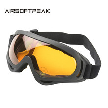Airsoft UV400 Glasses Wind Dust Tactical Goggle Orange Lens Eyewear Camping Cycling Hiking Shooting Outdoor Sports Eyeglasses(China)
