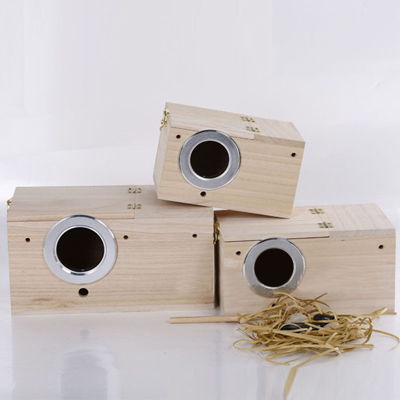 1pc Solid Wooden Nest Box Nesting Boxes 4 Sizes Pratical For Small Birds Budgies Finches