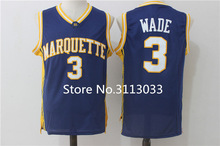 Vintage Dwayne Wade #3 College Marquette Golden Eagles Basketball Jersey All Size Embroidery Stitched(China)
