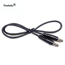 Tanbaby DC extension cable wire 1Meter long male to Male connector 5.5*2.1 5.5*2.1 male to male wire Black