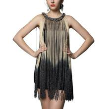 Draping Costume O-neck Tassel Dresses Beige Women Dress Clothing Flapper Swing Fringe Mini Vestido with Lower price(China)