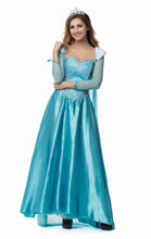 Vocole Halloween Elsa Queen Anna Princess Cosplay Costume Blue Fairy Tales Girls Party Gown Dress Fancy Dress Adult Women