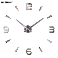 musein Super Big DIY Wall Clock Acrylic+EVR+Metal Mirror Super Big Personalized Digital Watches Clocks Freeshipping(China)