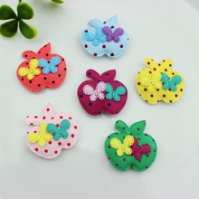 Set of 120pcs Fabric Felt Padded Polka dot Apple Appliques with two butterfly 32*31mm  Garment Patches ornament accessory FZ0073