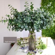Artificial Leaves Branches Simulation Plant Eucalyptus Large Bouquet Plastic Home Decoration Green Single Fake Money Grass K4(China)