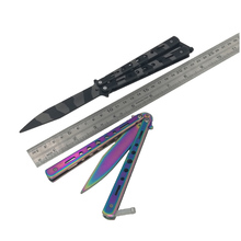 Blunt mariposa Train Knife Butterfly Trainer balisong Fold rainbow Practice(China)