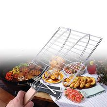 Stainless Steel Camping Grill Rack BBQ Meshes Clip Folder double Fish Meat Hinged Basket Tool Meat Fish  BBQ Tool Wooden Handle