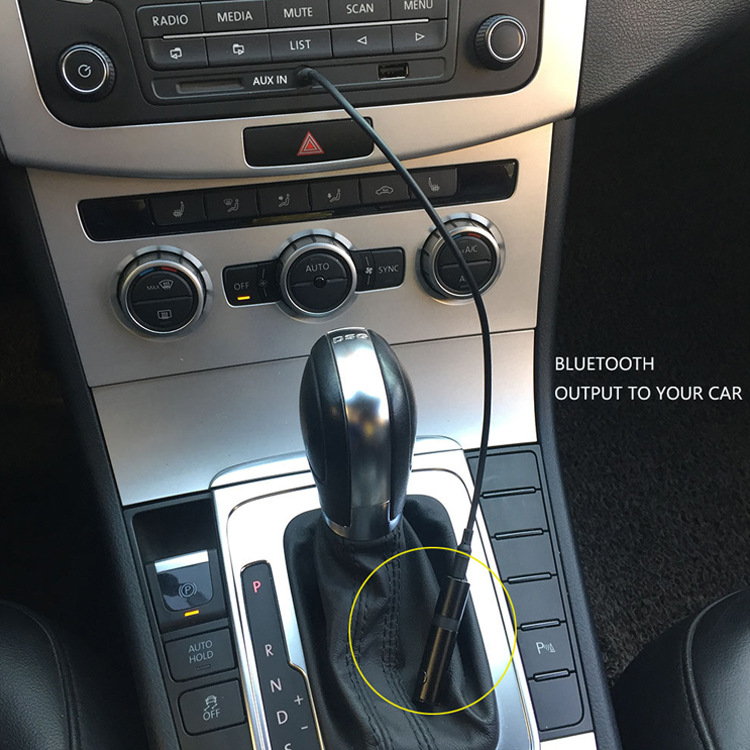 Mencom Car Bluetooth Aux Receiver Handsfree Bluetooth Car Kit Wireless Audio Adapter with Microphone for Wired Headphone Speaker