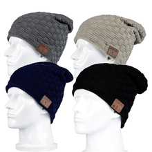 Winter Warm Wool Soft  Beanie Hat Wireless Small And Big Grid Lined With Velet Bluetooth Smart Cap Headset Headphone