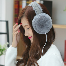 New Hot autumn winter music earphones earmuffs for women rabbit Faux Fur unisex Korean ear muffs earcap earmuff ear warmer(China)