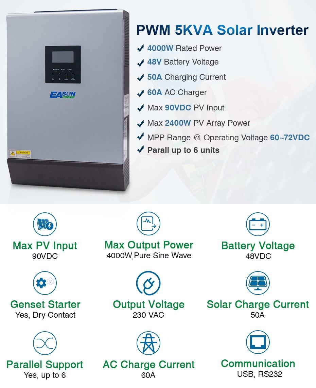 EASUN POWER Solar Inverter 5KVA 48V 220V Pure Sine Wave Hybrid Inverter Built in 50A PWM Solar Charge Controller Battery Charger ISolar SPL 5K-01