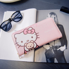 Women Wallets Hello kitty Bag Purse Leather Long Women's Purse Coin Money Bag Ladies Clutch Bag Card Holder Sac Bolsas Feminina(China)