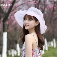 Lady Beach Hat Round Sun Hat Women Organza Sun Hat Large Flower Travel Sun Cap Cool Breathable Comfortable Beach Hat QDD9057