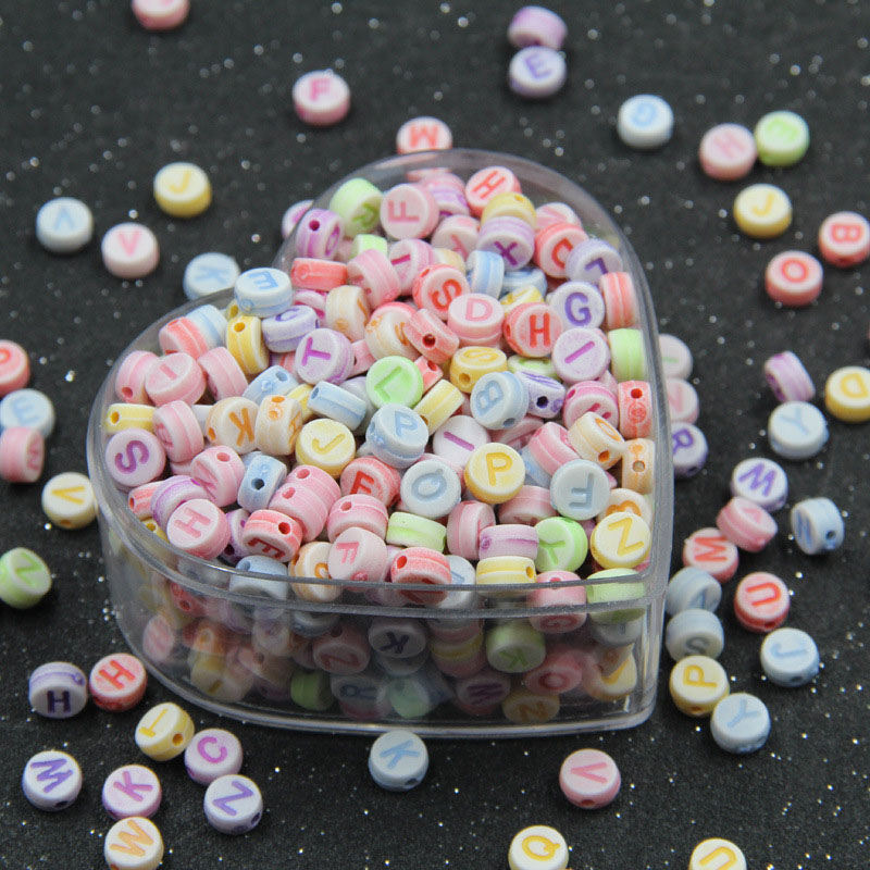 Top Kids Mixed Alphabet Beads Acrylic Bead DIY Colorful Letters Beads Bracelet Accessories Jewelry Making 7mm