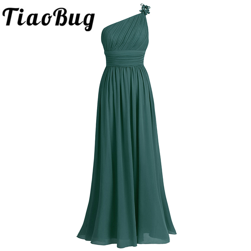 Tiaobug Bridesmaid-Dress Party-Gowns Tulle Chiffon Wedding One-Shoulder Beach Maxi Long title=