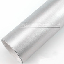 Car styling Silver Matte Chrome Brushed Metallic Vinyl Film car Sticker decal Bubble Free Brushed Metallic Car Wrapping foil(China)