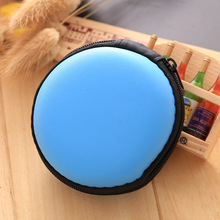 Sky Blue Silicone Coin Purse Round Shaped Zipper Wallets EVA Rubber monederos mujer monedas Bags Headset Keys Box Pouch Wallet(China)