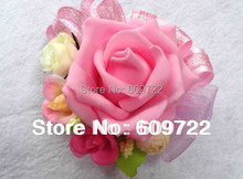 New PU Handmade Prom Boutonniere Wedding Church Decor Artificial Rose Wrist Corsages Flower for Bridesmaid Bracelet Pink FL755