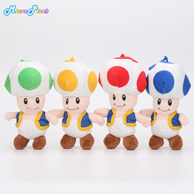 18CM Super Mario Bros Toad Plush Stuffed Dolls Plush Toys Figures toy Mushroom plush pendant keychain keyring