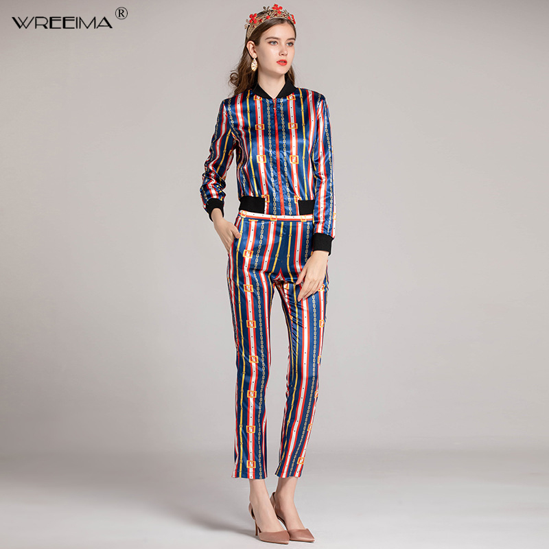 2019 spring Fashion Printed Suit Sets 2 Piece Full Sleeve Shirt Top + Elastic Waist Pencil Pants Sets For Women Runway Twinsets