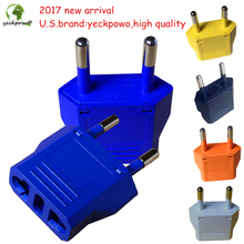 U.S.brand yeckpowo! 5 pcs US to EU Plug adaptor plug convertor Travel Adapter Power Converter Wall Plug
